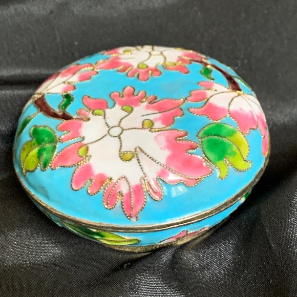 Other - Enamel Blue & Pink Floral Small Trinket Box